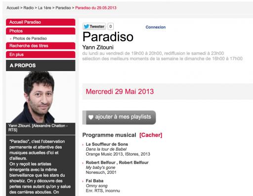 Emilie Zoé à Radio Paradiso